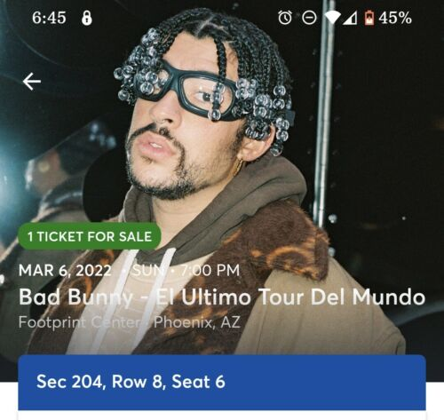 2 Bad Bunny Concert Tickets Phoenix PRICING IS FOR 2 TICKETS - $1,000.00