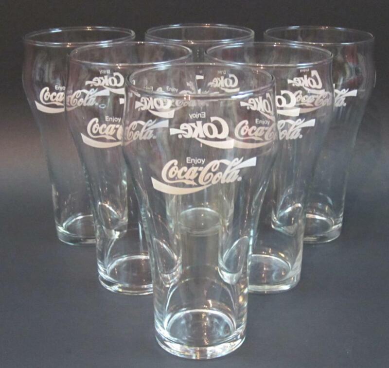 Set of 6 Vintage 1980s Enjoy Coca-Cola Coke 14 oz Retro Libbey Soda Glasses