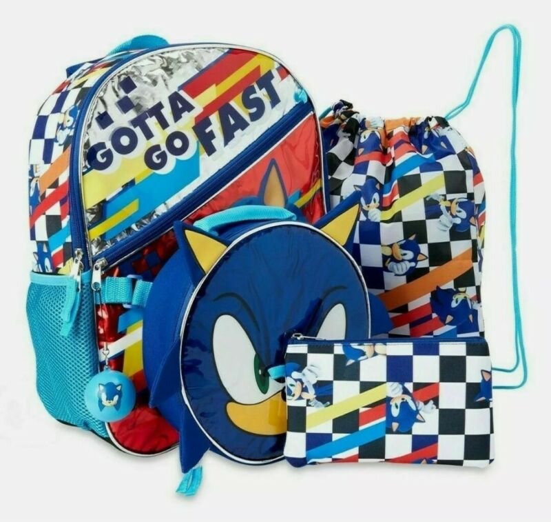"""Sonic the Hedgehog Boys Blue 5PC Backpack Set 16"""" School Bag Insulated Lunch Bag"""