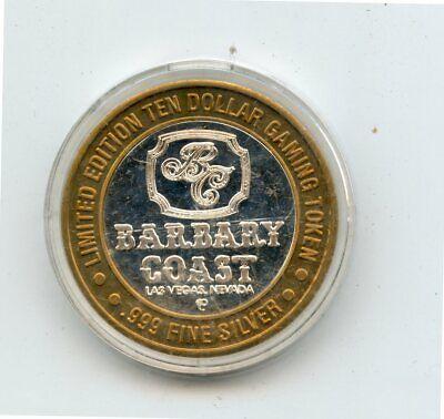 $10 Barbary Coast Las Vegas Casino .999 Fine Silver Gaming Token (In Capsule)