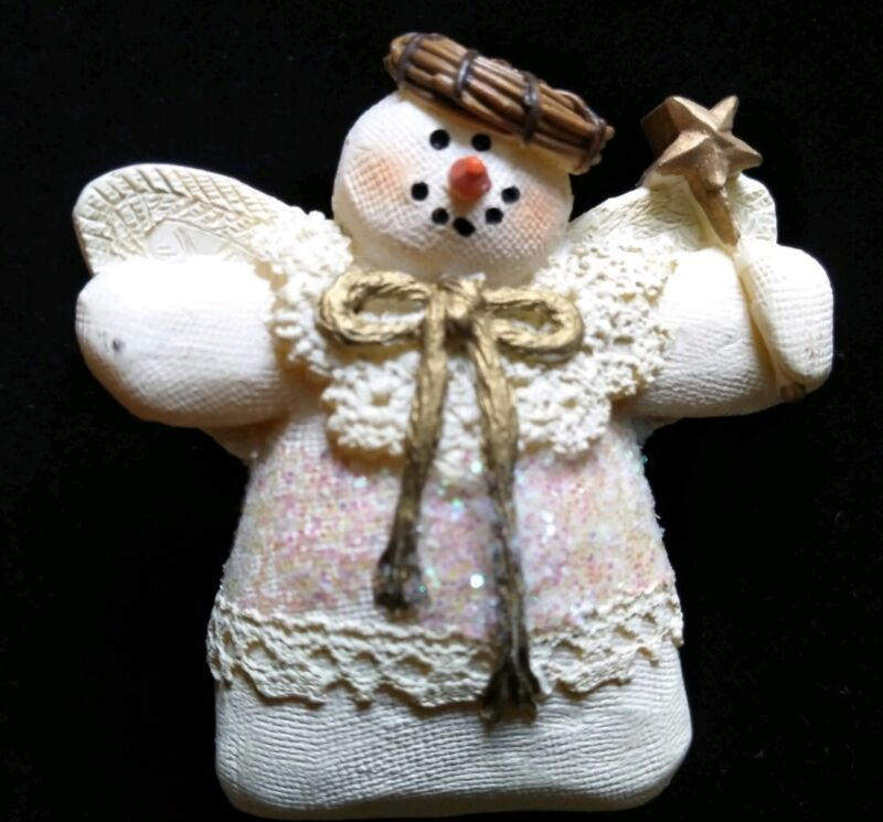Vintage Snowman Angel Pin Brooch