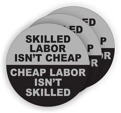 3pk Funny Skilled Labor Hard Hat Stickers Helmet Decals Labels Union Laborer Gry