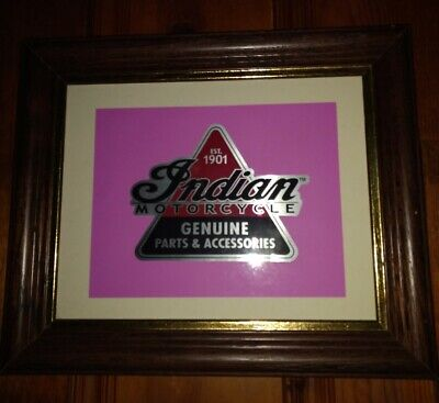 EST 1901 INDIAN MOTORCYCLE GENUINE PARTS & ACCESSORIES STICKER DECAL FRAMED