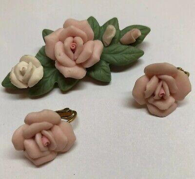 Pale Pink Porcelain Rose Earrings & Pin