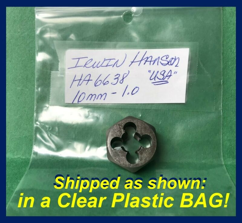 Irwin Hanson USA 10 MM - 1.0 Heavy Duty Steel Hexagon Die HA6638