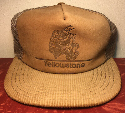 Vintage 80s Yellowstone Park Leather & Corduroy Snap Back Trucker Hat USA Made