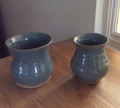 Blue speckled glazed ceramic pots / vases (2 pieces)