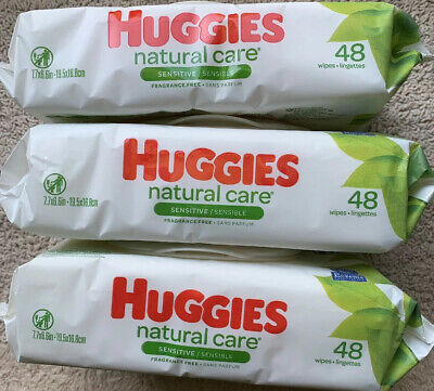 Huggies Natural Care Sensitive Baby Wipes Lot of 3 48ct Each Pack (144 Total)