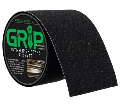"Anti Slip High Traction Grip Tape for Steps, Indoor, Outdoor - Black (4"" x 34')"