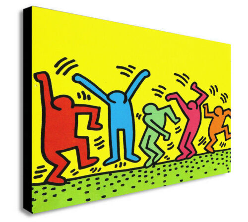 Keith Haring The Dancers - Pop Art - Canvas Wall Art Framed Print Various Sizes