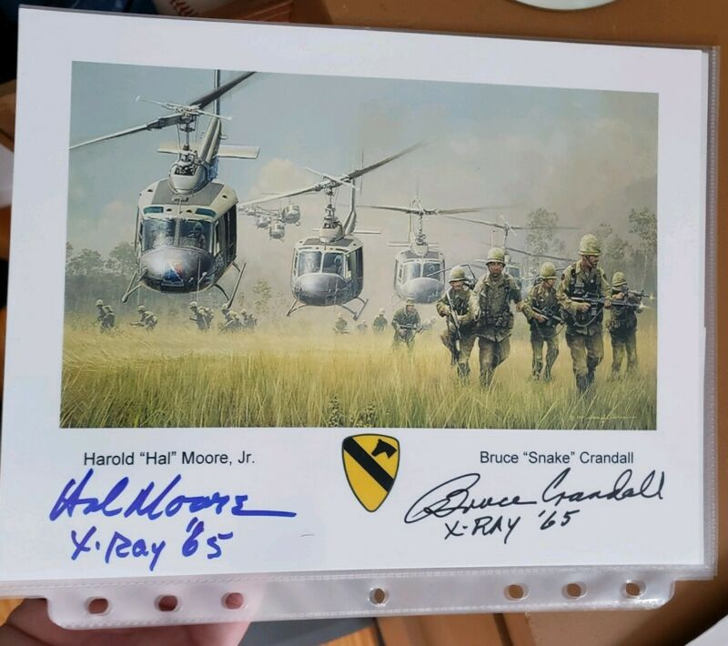 Hal Moore and Bruce Crandall La Drang Nam autographed photograph MOH rare 8x10