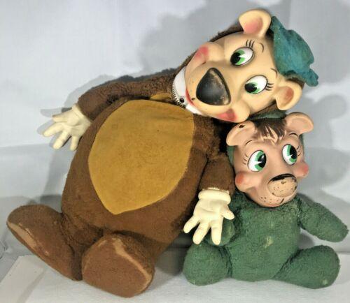 Pair VINTAGE Yogi Bear and Boo Boo Doll Stuffed Plush Knickerbocker Toy Company