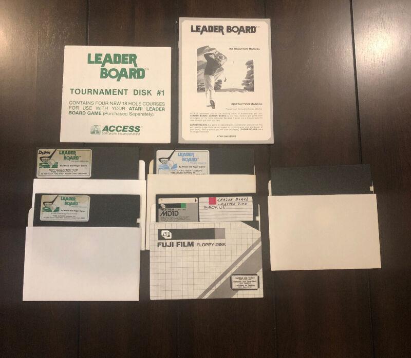 """Atari 800 Leaderboard Golf 5 1/4"""" Floppy Disks & Manual Tournament"""