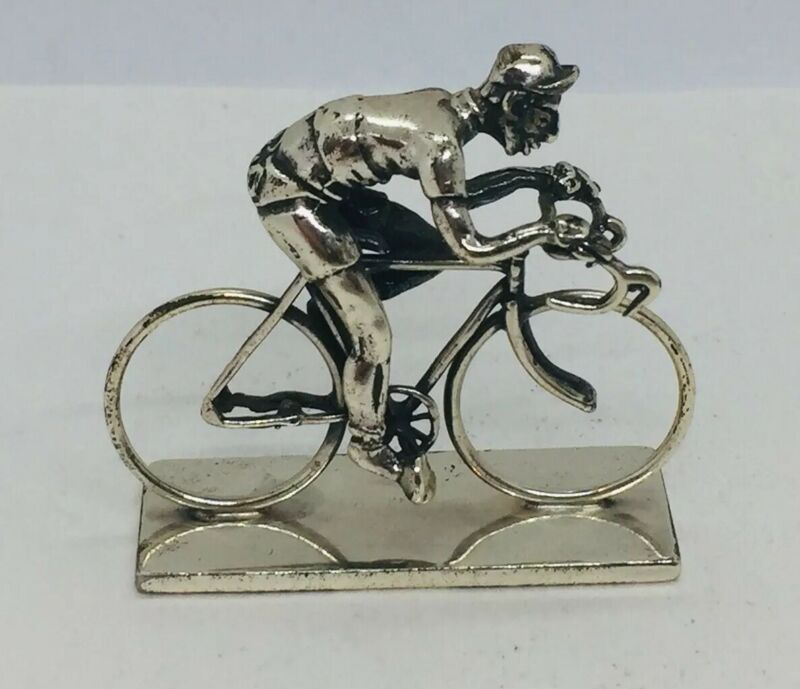 Vintage Italy 925 Sterling Silver Bike Racer Bicycle Miniature