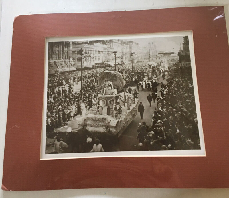 1925 Rex Mardi Gras New Orleans Matted Photo Print Mule Pulled Floats