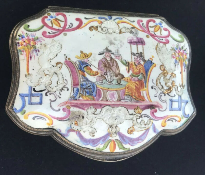 Antique Fromery Herold Silver Chinoiserie Miniature Painted Enamel Snuff Box