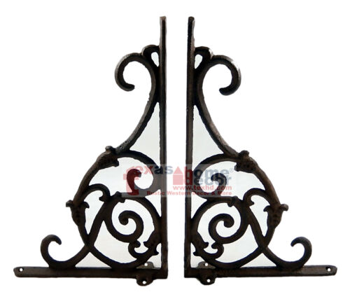 """2 Ornate Rustic Cast Iron Brackets Braces with Scrolls Doorway Accent 9.25 x 6"""""""