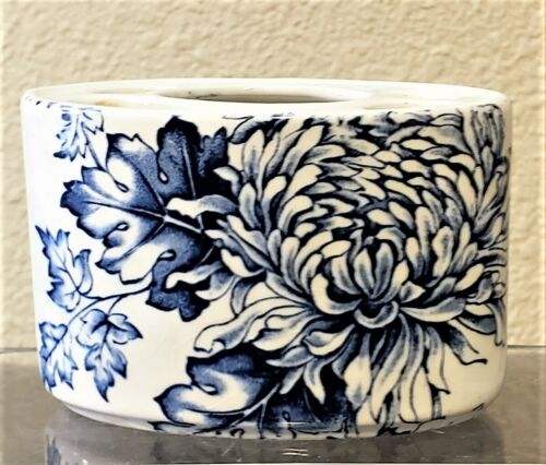 Antique Old Foley Chrysanthemum Blue James Kent Staffordshire Tooth Brush Holder