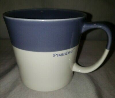 NEW Starbucks Passion Coffee Mug 2010 Lavender Blue & White 12oz Bone China Cup