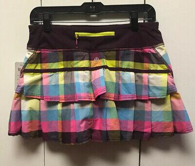 LULULEMON New Pace Setter Skirt Skort Attached Shorts Plaid Sea Check Plum NWT 6