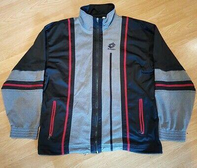 Vintage 90s LOTTO Mens TRNG Track Jacket | Retro Sport Italy | XL Grey