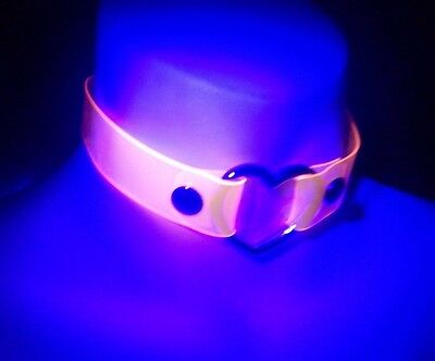 UV reactive transparent Neon Pink Vinyl Heart Choker collar necklace clear 6Z - Neon Pink Necklace
