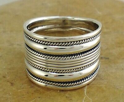 EXOTIC .925 STERLING SILVER BALI STYLE CIGAR BAND RING size 9 style# r2009