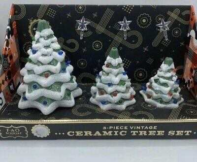 F A O Schwarz Christmas Ceramic Vintage Tree Set 3 Pc Xmas Light Up FAO NEW