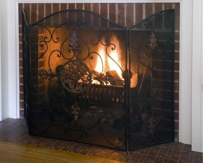 Uttermost Egan Iron Fireplace Screen 3 Panel 57 x 36 inches