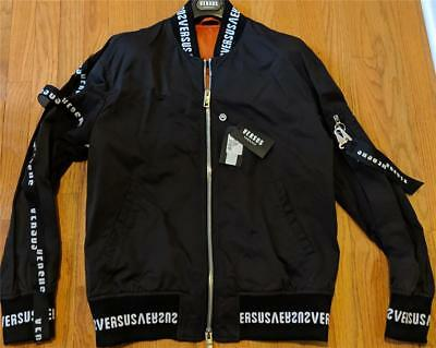 $895 Mens Authentic Versus Versace Logo Bomber Jacket Black EU 50 US Medium