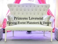 **party rentals, loveseat, decoration, centerpiece, backdrop