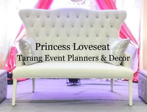 Party rentals, Loveseat, Centerpieces, backdrop, stage decor