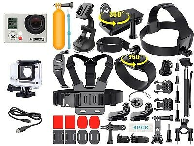 GoPro Hero 3 Black Edition Camera + 40 Pcs Extreme Sports Kit Bundle CHDHX301