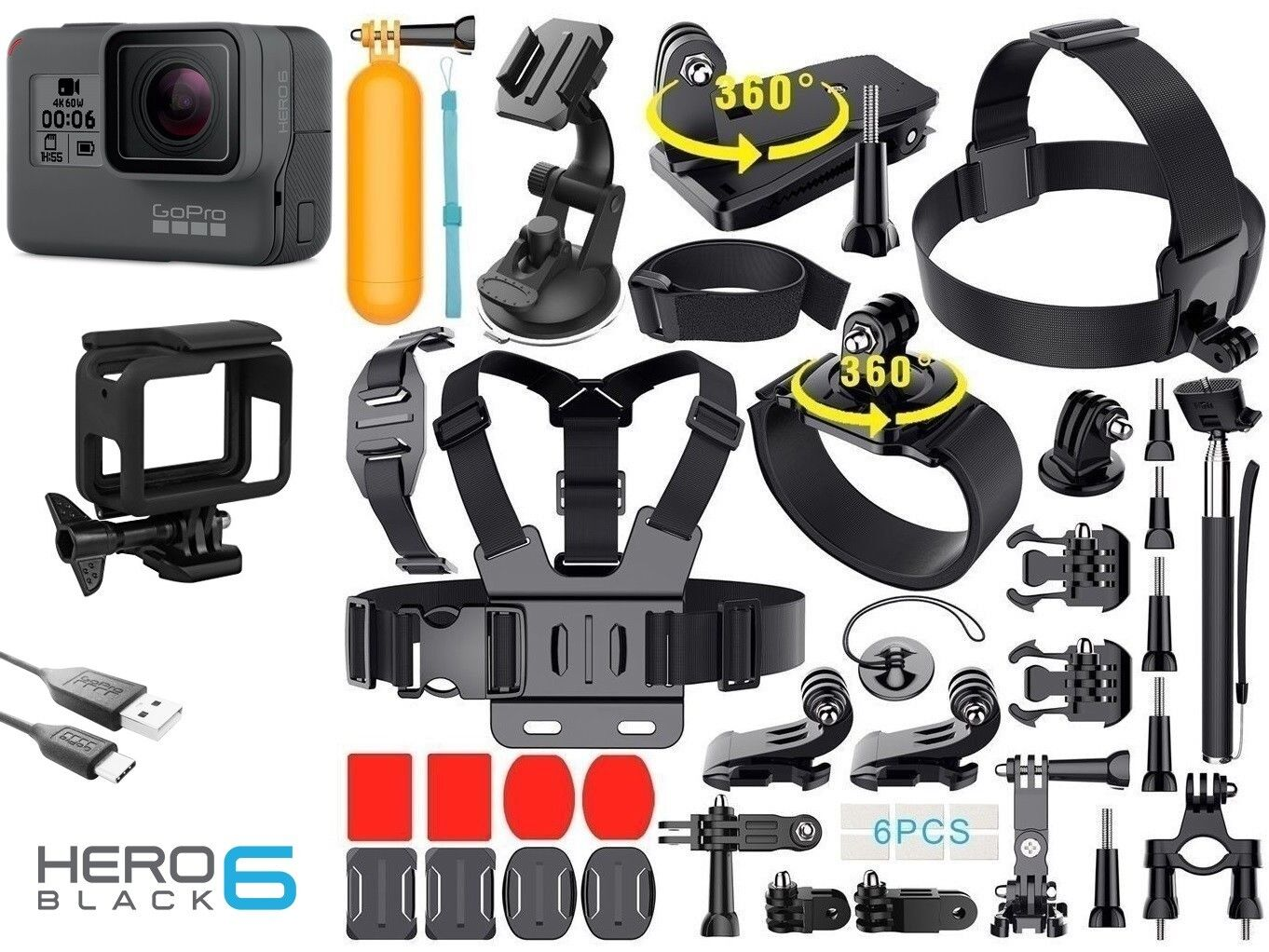 GoPro HERO 6 Black + 40 Pcs Extreme Sports Accessory Kit Complete Bundle