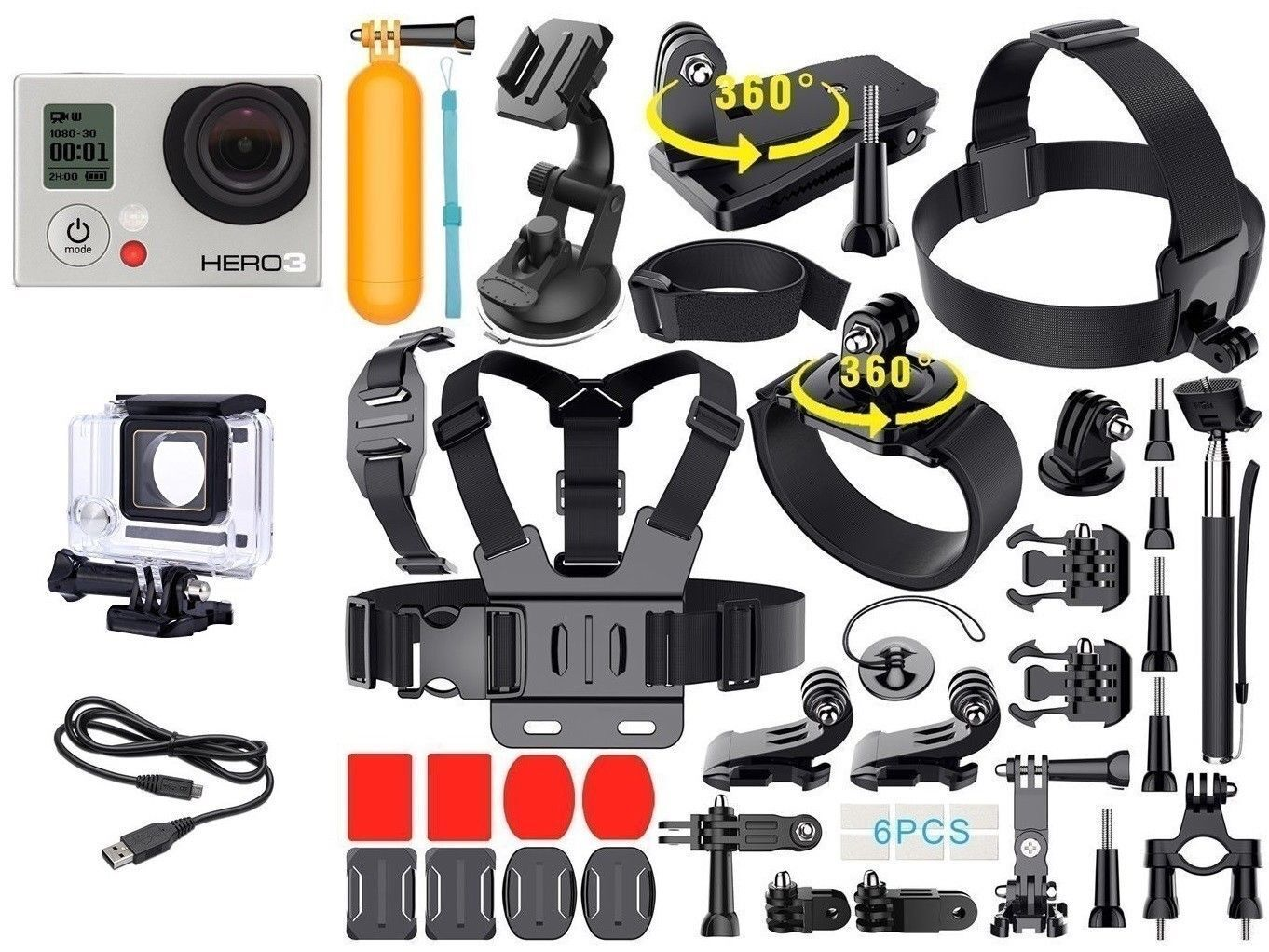 GoPro HERO 3 White Edition + Extreme Sports Kit Accessories Bundle CHDHE301