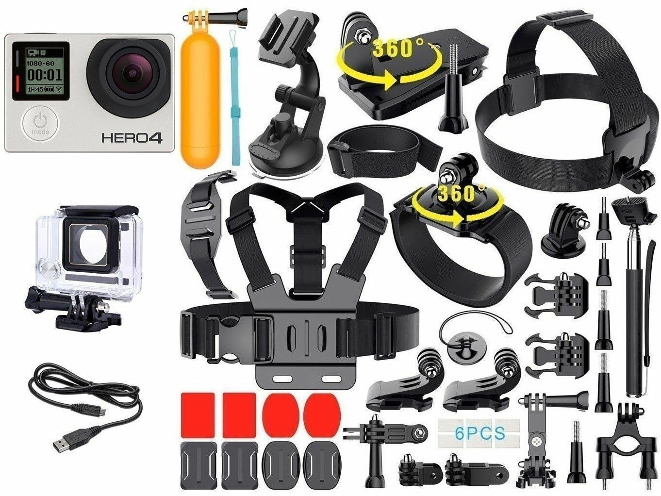 GoPro Hero 4 Silver Edition Camcorder CHDHY-401 With Touch Screen + 40 Pieces