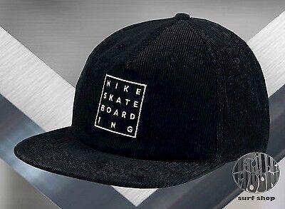 - New NIKE SB Washed Cord Corduroy Black Strapback Mens Hat Cap