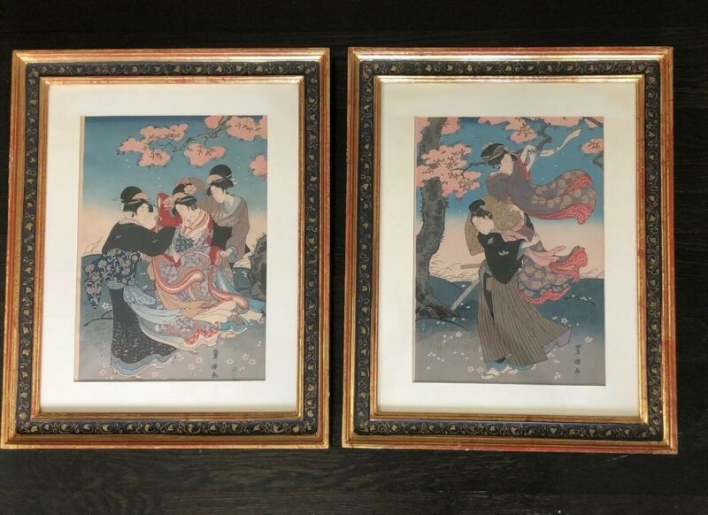 PAIR / SET Japanese Woodblock Prints Geisha Hand Colored Cherry Blossoms Signed
