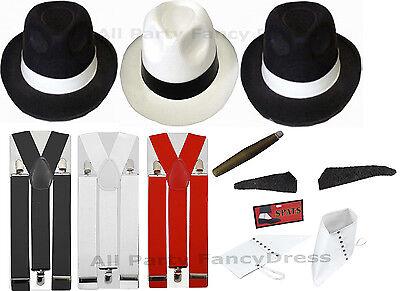WOMENS MENS GANGSTER PIMP HAT BRACES SPATS SPIV TASH 1920'S FANCY DRESS COSTUME