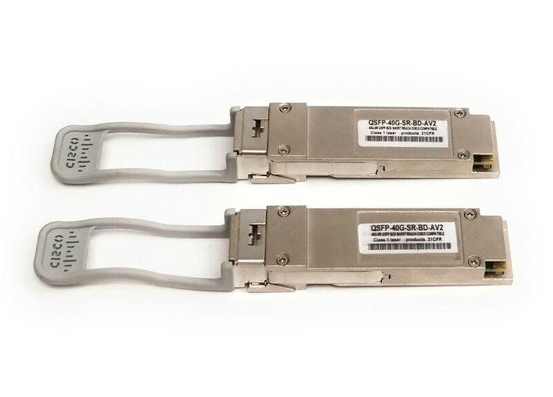 Lot of 2 Cisco QSFP40G BiDi Short-Reach Transceiver QSFP-40G-SR-BD-AV2