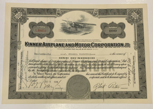 Kinner Airplane and Motor Corporation CA 1935 Stock Certificate  100 Shares
