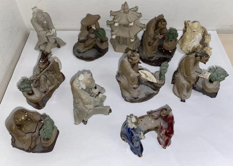 (11) Bonsai Tree Figurines Man Games Pagoda Bundle Lot