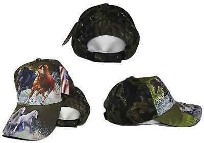 Three Horse Running Horses Camo Camouflage Printed Baseball Cap Hat - Horse Hat
