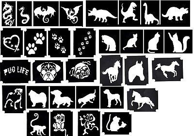 Tattoo Glitter stencils Dog Paw Dinosaur Monkey Dragon Dog Pug Cat Horse