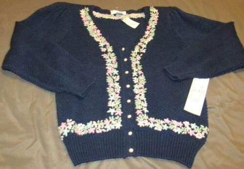 NWT Vintage Margules Cardigan Sweater Navy Floral Women