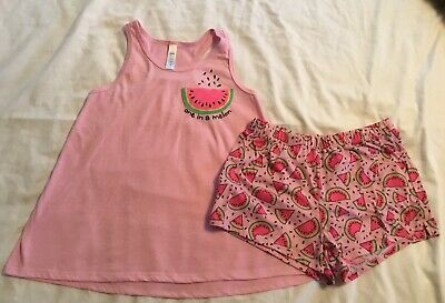 Girls In Pj (JUSTICE Girls Pajamas Size 12 (ONE IN A MELON) Two Piece Spring Summer)
