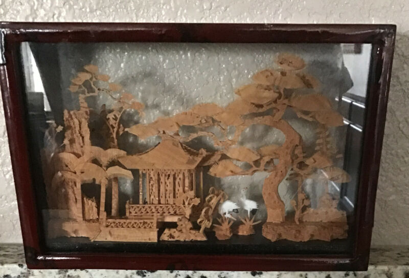 Vintage Chinese Japanese Carved Pagoda Cork Diorama Art In Glass Shadow Box