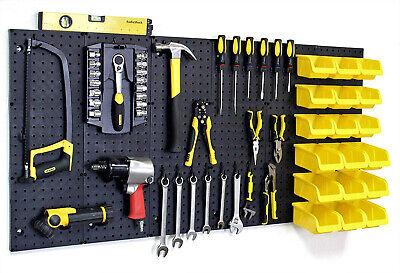 Peg Board Panels Locking Peg Hooks Set Workbench Organizer Tool Storage 6 Bins