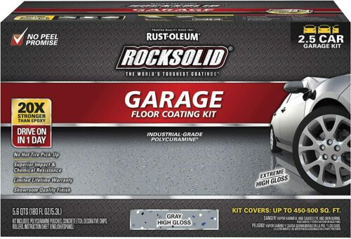 Rust-Oleum 293513 Rocksolid Polycuramine Garage Floor Coating, 2.5 Car Kit Gray