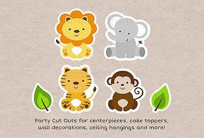 Cute Jungle Safari Animals Party Cutouts Decorations Printable (Safari Cutouts)